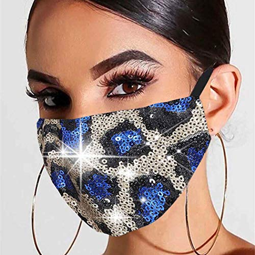 Earent Sequins Leopard Mouth Covers Sparkly Masquerade Cotton Coverings Nightclub Ball Party Mouth Shields Mardi Gras Sexy Glitter Mouth Jewelry for Women and Girls (Royal blue)