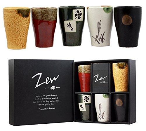 Atlántico Collectibles japonés Multi Colored Arte Abstracto cerámica esmaltada 6oz beber café taza de té juego de 5hecho en Japón artística cerámica decoración