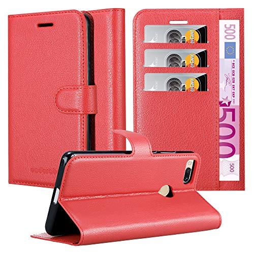 Cadorabo Hülle für Xiaomi Mi A1 / Mi 5X in Karmin ROT - Handyhülle mit Magnetverschluss, Standfunktion & Kartenfach - Hülle Cover Schutzhülle Etui Tasche Book Klapp Style