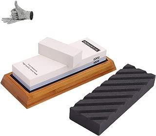 Knife Sharpening Stone Set Coarse Flattening Stone Premium Japanese Whetstone 1000 6000 Grit Water Stone Best Kitchen Knife Sharpener Stone Kit Cut Resistant Gloves