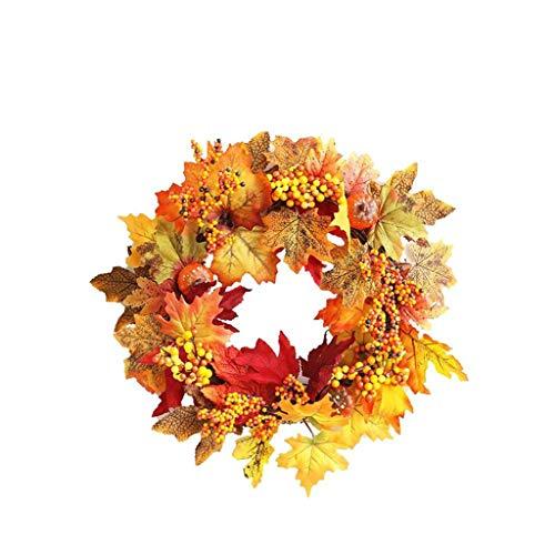 Halloween Vacanze Autunnali Porta Decorazione Rattan Berry Foglie d'Acero Autunno Porta Corona Porta Wedding Decorazione Domestica Corona 45 Centimetri (Color : Orange)