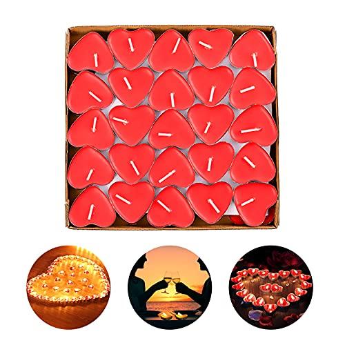 RANJIMA - Vela plana, 50 velas de calor planas, románticas, pequeñas velas rojas, velas decorativas perfumadas, velas de corazón de amor decorativas para bodas, cumpleaños o fiestas