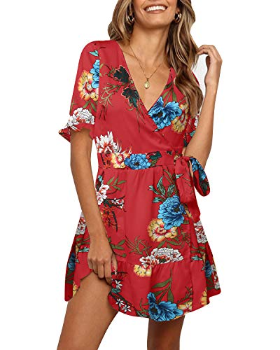 YOINS Vestito Casuale Donna Abito a Maniche Corte Floreale Vestiti Elegante da Cocktail Maniche Svasate Corto Abiti da Spiaggia Estivo Sexy V-Rosso L