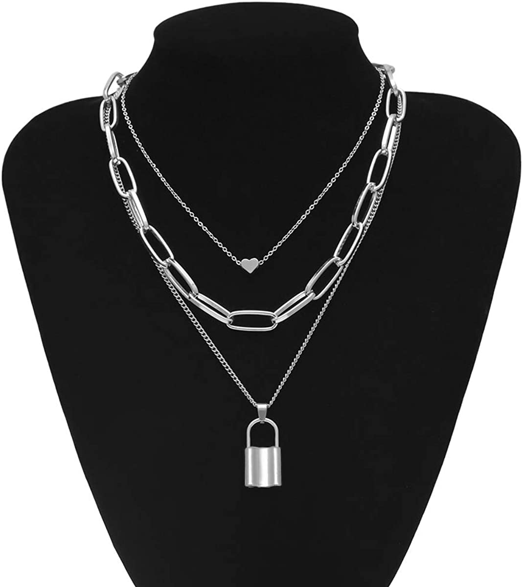 Hip Hop Rhinestone Shiny Cuban Link Chain Choker Bling Collar Chains Chunky Necklace Bracelet Fashion Punk Lock Pendant Iced Curb Chunky Chain Necklace for Women Girls Jewelry