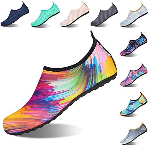 Zapatos de Agua Hombre Mujer Zapatillas de Deportes Acuáticos Zapatillas Acuáticas Secado Rápido para Surf Swim Beach Playa Yoga 38/39 EU Multicolor