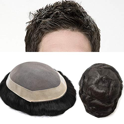 LYRICAL HAIR Toupee for Men Natural Black Human Hair Replacements Systems Durable Poly Coating NPU Skin Around Monofilament Wigs Hairpiece 120% Medium Light to Medium Density (8'10', 1B Off Black)