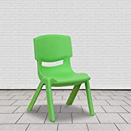 Flash Furniture Green Plastic Stackable School Chair with 10.5'' Seat Height