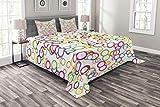ABAKUHAUS Regenbogen Tagesdecke Set, Farbige geometrische Kreis, Set mit Kissenbezügen Maschienenwaschbar, für Doppelbetten 264 x 220 cm, Lavendel Lachs Gelb Rosa