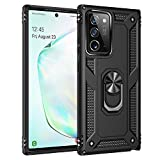 STORM BUY Phone Case for [ Samsung Galaxy Note 20 Ultra 5G ], Hard Back Cover with [Shock Absorption] Protection, Kickstand Ring Black Bumper Case for Galaxy Note 20 Ultra, 6.9-inch -KKBK