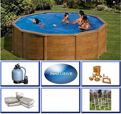 Poolprofi Stahlwandbeckenset Pacific Holz rund 4,60m x 1,20m Super Komplettset inkl. Sicherheitsleiter Rundpool / 460 x 120 cm Stahlwandpool