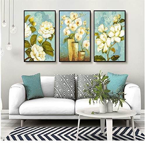 chthsx werk muurkunst bloem vogel puzzel groep canvas schilderij leuke afbeelding moderne druk thuis sitting Bedside-35x70x3Pcscm geen lijst