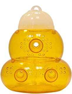 Weite Yellow Outdoor Trap Catcher, 3 Holes Wasp Fly Flies Bee Insects Hanging Trap Catcher Killer No-Toxic Chemical Flying Killer (Yellow)