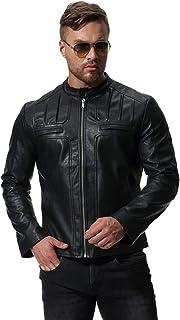 MISSMAO Vintage Slim Fit Leather Jacket Zip Up Biker Jacket