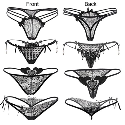 Nightaste Women's Black Charming Thong Lace G-String Soft Breathable Panties (6 Styles/Pack) (Style1, L)