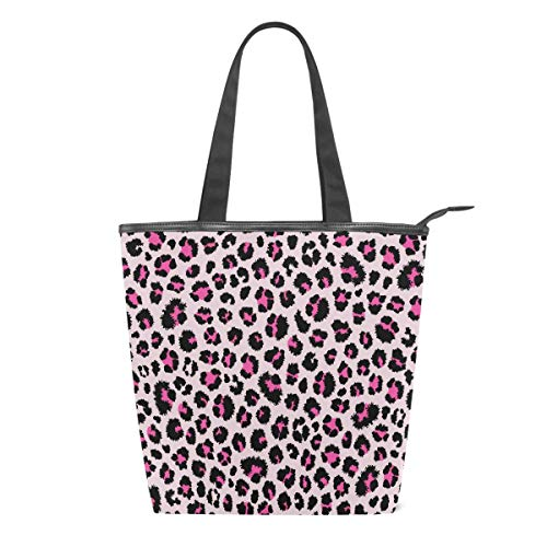 Leopard Animal Print Women Canvas Tote Bag, Pink Skin Girls Large School Book Shoulder Handle Shopping Laptop Organizer Bags Handbag for Schools Beach Travel Work Gym Daily Use