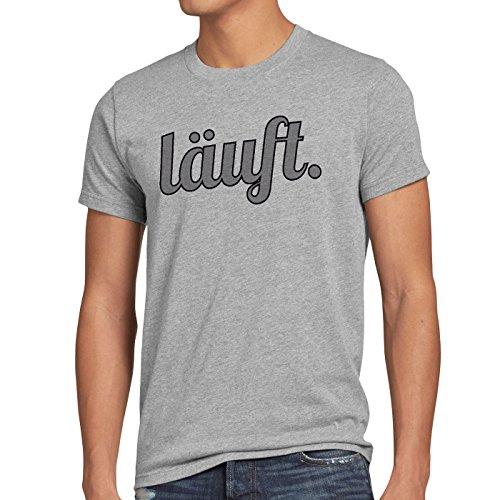 style3 läuft Herren T-Shirt Funshirt Spruchshirt Shirt, Größe:L;Farbe:Grau meliert