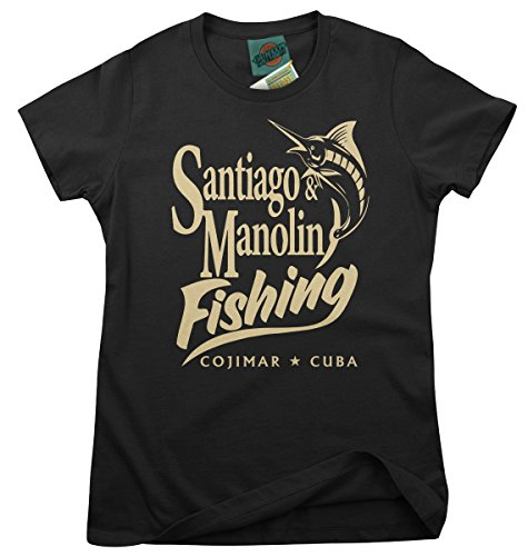 BathroomWall Old Man and The SEA Inspired Ernest Hemingway, Women's T-Shirt, Small, Black