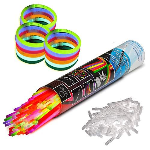 Pairka 100pcs Knicklichter Leuchtstäbe Mehrfarbig Armreifen Armbänder Glowstick Ungiftig Party Verein Halloween Weihnachten