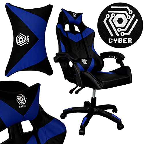 Gaming Stuhl CYBER Bürostuhl Racing Massagefunktion Gaming Chair Drehstuhl (ohne Fußstütze, Blue)