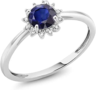 Gem Stone King 10K White Gold 0.60 Ct Round Blue Sapphire and Diamond Engagement Ring (Available 5,6,7,8,9)