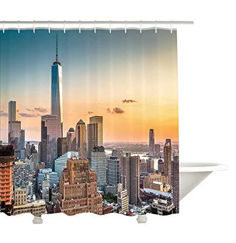 Yeuss Cityscape D¨¦corations Collection, Horizon de New York City NY Windows d'ouverture vers Manhattan color¨¦ ¨¦tanche, tissu de polyester de salle de bain Rideau de douche avec ensemble de crochets