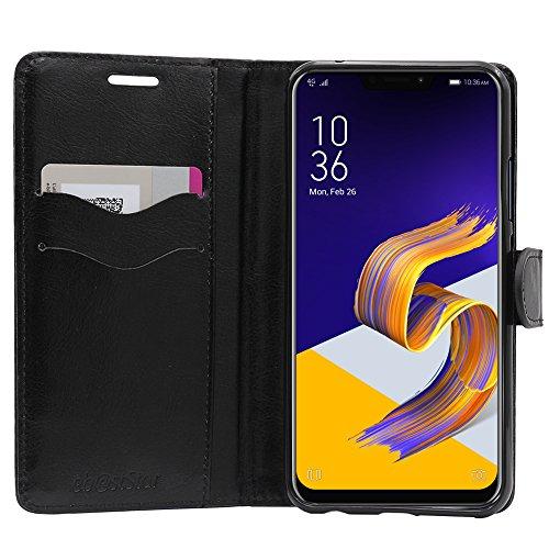 ebestStar - Cover Compatibile con ASUS Zenfone 5 ZE620KL, 5Z ZS620KL Custodia Portafoglio Pelle PU Protezione Libro Flip, Nero [Apparecchio: 153 x 75.7 x 7.9mm, 6.2'']