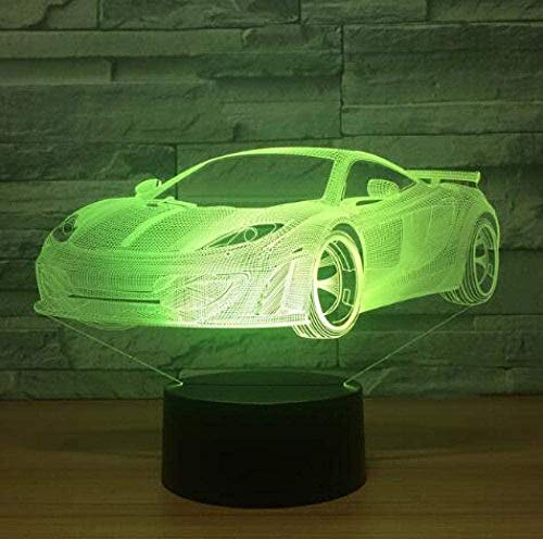 LSDAMN LED Supercar 3D Night Light Kids Night Lights 7-Color Dimmable with Remote Smart Touch Christmas and Birthday Gifts for Boys and Kids Optical Illusion Mood Light Christmas Birthday Gift