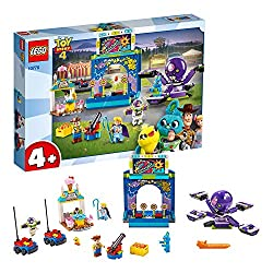 Includes Buzz Lightyear, Woody and Bo Peep minifigures, plus Ducky and Bunny toy story figures Features a carnival shooting game, decorated rocket elements that can be knocked down and separate, working cannon This cute set also includes a Terrorantu...