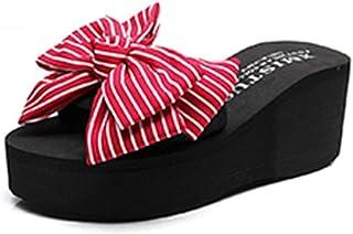 Chanclas Cómodo La Gente arrastra Las Zapatillas de Verano Zapatillas Bow Knuckle Zapatillas Antideslizantes Inclinación Inferior Plana con Zapatillas Cool Cooler (6 Colores Opcionales) (tamaño op