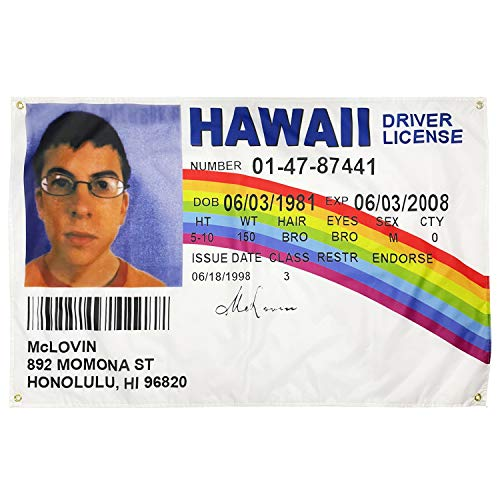 WYFGL 3×5 FT McLovin Fake ID Flag Driver License Flag with 4 Brass Grommets 100D Double Stitched Funny Banner Decor for Dorm College