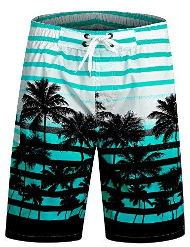 APTRO Men's Quick Dry Swim Trunks Long Palm Beach Hawaiian Board Shorts Bathing Suits 1525 Aqua L