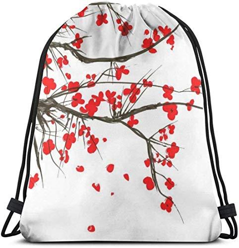 KINGAM Sackpack Cinch - Mochila con cordón japonesa, diseño de flor de cerezo