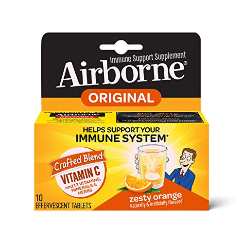 Vitamin C 1000mg (per serving) - Airborne Zesty Orange Effervescent Tablets (10 count in a box), Gluten-Free Immune Support Supplement, With Vitamins A C E, ZINC, Selenium, Echinacea & Ginger