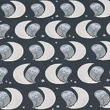 Jersey Eulen und Mond von Hilco, anthrazit (50 x 150cm)