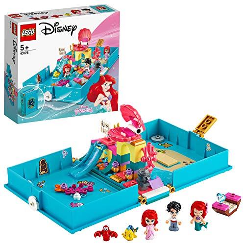 LEGO Disney Princess Ariel e il Principe Eric Set di Costruzioni il Libro delle Fiabe con 2 Micro-Doll Disney più Flounder, Sebastian e Barca Costruibile, per Bambine +5 Anni, 43176