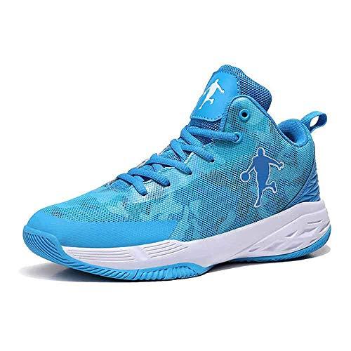 Sooiy Zapatillas de Baloncesto para Hombre, Entrenador de Botas de Baloncesto de absorción de Golpes de Rendimiento Men's Basketball Shoes,Azul,44
