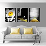 Paraguas Paisaje peatonal Amarillo Ciudad Paisaje Imagen Lienzo Pintura Pared Arte Cartel para Sala de estar-50x70cmx3 sin Marco