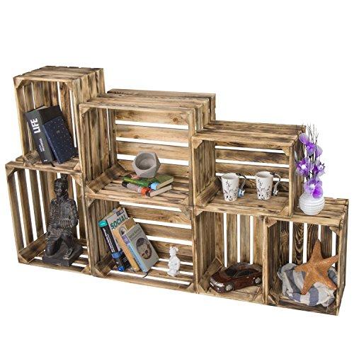 LAUBLUST 7er Set Vintage Holzkisten - Kisten in 2 Größen, 50x40x30cm / 40x30x25cm, Geflammt, Neu, Unbenutzt | Möbel-Kiste | Wein-Kiste | Obst-Kiste | Apfel-Kiste | Deko-Kiste aus Holz - 5