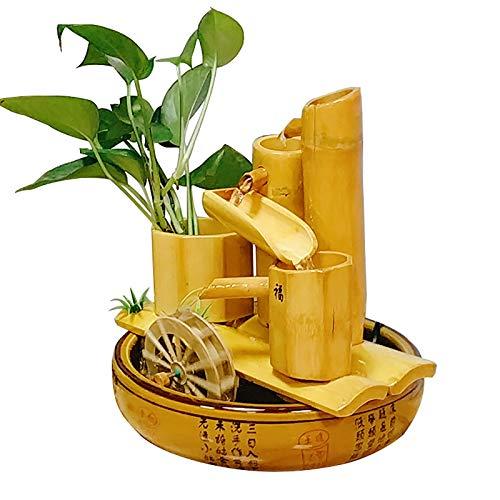 Fuente cerámica de sobremesa,Fengshui decoración interior Mobiliario de la sala de estar Humidificador de fuente de agua Decoración de mesa de agua Fuente de bambú -Fuente de bambu 11.4pulgada