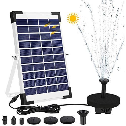 AIMTOP Solar Fuente Bomba, 5W Bomba de Agua Solar Fuente de Jardín Solar, Fuente Flotante Solar on 5 Boquillas y Soporte, Bomba Solar para Estanque, Jardin, Baño de Aves, Fish Tank