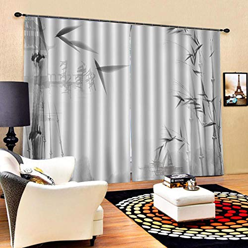 RYQRP Vorhänge 3D Bambus Vorhang Blickdicht 100{15b7e6ae8ff251437725e5dadabf2e9e1989bf56182a23f52a08282c50823f11} Polyester mit Haken 2er Set Verdunkelungsvorhang für Schlafzimmer Kinderzimmer Wohnzimmer Dekoration 183x214cm