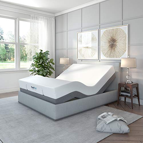 Classic Brands Adjustable Comfort Upholstered Adjustable Bed Base with Massage,...