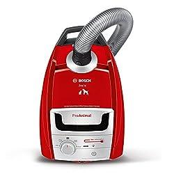 Bosch Bodenstaubsauger mit Beutel BSGL5ZOO3, Tierhaar-Staubsauger, langes Kabel, beste Hartboden-Reinigung, für Allergiker geeignet, 800 Watt, rot