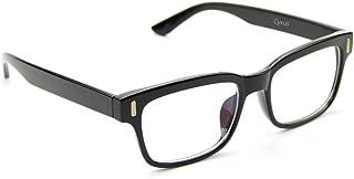 Cyxus Retro Square Frame Plain Glasses Fashion Clear Lens Unisex Spectacles (Classic Black Frame)