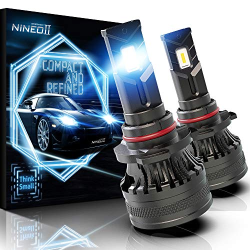 NINEO 9005 LED Headlight Bulbs w/Mini Size | 10000LM 6500K Cool White | Hb3 All-in-One Conversion Kit Fan Design
