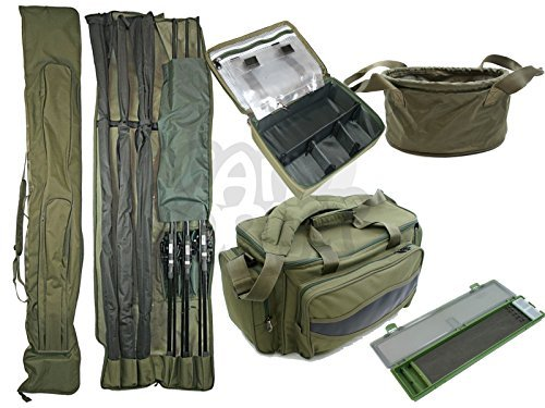 NGT Carp Fishing Luggage Deal Set 3+3 12ft Rod holdall Carryall Rig Wallet Boilie or Groundbait Bait Bin