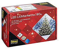 Idena 8325058 - LED light chain with 80 LED in warm white, with 8 hours timer function, indoor and outdoor, for parties, Christmas, decoration, wedding, as mood light, approx. 15,9 m