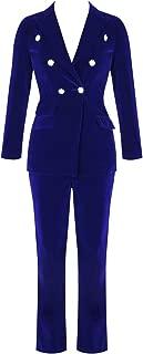 Women's High-Waisted Crystal Button 2 Pieces Velvet Blazer Pant Suits Set