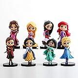 CYSJ 8Pcs Principessa Cake Topper Mini Action Figure Set Principessa dei Cartoni Animati Decorazioni per Torte di Compleann Supplies per Bambini Micro Decorazione Paesaggio
