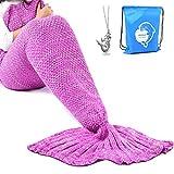 LAGHCAT Mermaid Tail Blanket Crochet Mermaid Blanket for Adult, Soft All Seasons Sleeping Blankets, Classic Pattern (71'x35.5', Pink)